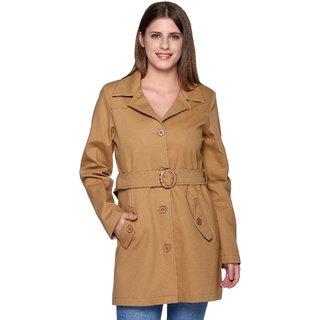 Trufit Khaki Poly Cotton Long Coats For Women