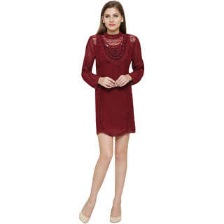 9efe695a1fe7 Buy MansiCollections Maroon Solid Georgette A Line Dress Dress For Women  Online - Get 29% Off