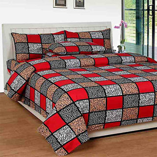 The Intellect Bazaar 160 TC Cotton King Fitted Elastic Bedsheet With 2 Pillow Covers Red