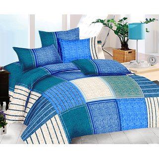 The Intellect Bazaar 160 TC Cotton King Fitted Elastic Bedsheet With 2 Pillow Covers Blue