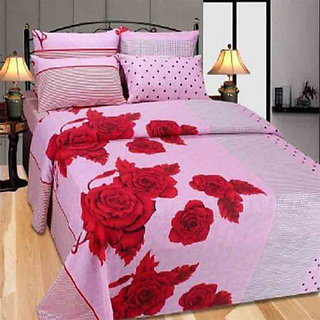 The Intellect Bazaar 160 TC Cotton King Fitted Elastic Bedsheet With 2 Pillow Covers Pink