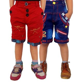 AD & AV Blue And Red Cotton Shorts - Pack Of 2