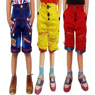 AD & AV Multicolour Cotton Shorts - Pack Of 3