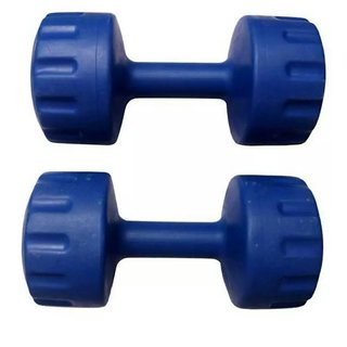 Arnav Aerobics Pvc Dumbells Fixed Weight 3 Kg x 2 No. For Home Gym Exercises Blue Colour