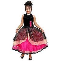 AD & AV Black Velvet Tiered Net Dress