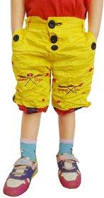 AD & AV Yellow Cotton Blend Shorts