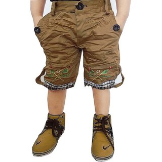 AD & AV Khaki Cotton Blend Shorts