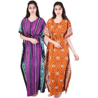 3f8ae6b587 Multi Color Long cotton Fully Open Nighty (Pack of 2) Combo Womens Printed Nighty  Nightwear Cotton Maxi Dress Sleepwear Nightgown