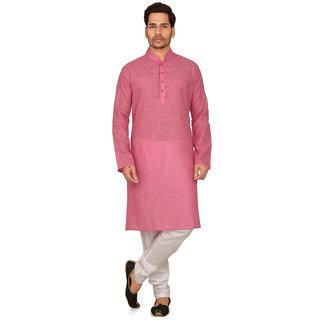 Garun Men's Pink White Cotton Plain Kurta Pyjama Set
