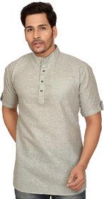 Garun Grey Short Sleeve Short Kurta For Men
