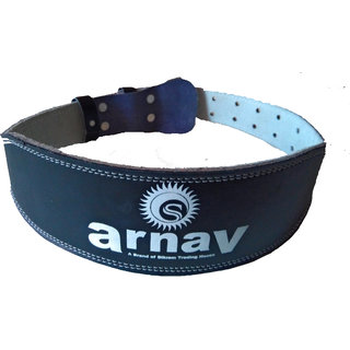arnav Weight Lifting Leather Gym Belt  for Light and Heavy Exercise With Steel Roller Buckle Foam Padded 4 Back in  Black Colour