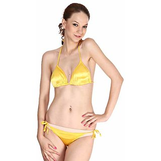 3465bc6db3 Yellow Sexy Satin Bikini Set Hot 2pc G-String Bra   Panty Seductive Fun  Lingerie In India - Shopclues Online