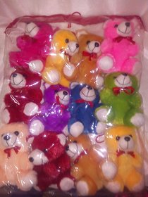 only4youSet of 12 teddy bear (Best Valentine Gift) assorted colors size height 4 inches