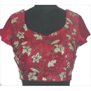 Stitch O Fab Maroon velvet embroidery design Women Blouse-087