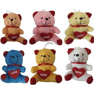 only4you 8 INCHIES SOFT TEDDY BEARS PACK OF 6