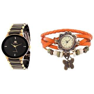 TRUE CHOICE NEW iik man and orange vintage Watch Combo