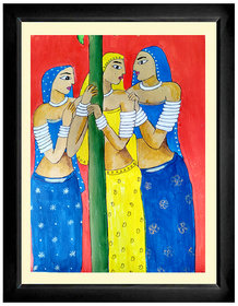 Tribal Womens Painting Framed and Mounted