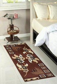 Luxmi Beautiful looking flowers Design Bed side Runner - Brown