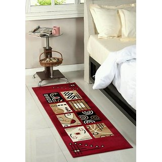 Luxmi Beautiful looking Check Design Bed side Runner - Mahroon