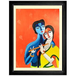 Radha Krishna Painting with Mounted and Framed