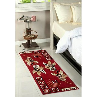 Luxmi Attractive looking flowers Design Bed side Runner - Mahroon