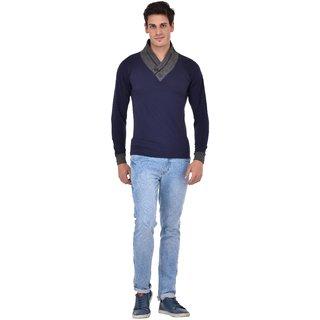 Redbrick men v neck navy blue full sleeve t shirt (100cotton)