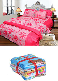 Luxmi Beautiful flowers Design Bed sheets with 2 pillow covers  Free 4 Teddy face towels