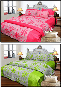 Combo of 2  Floral Design Double Bedsheet with 4 Pillow Covers(100 Cotton)