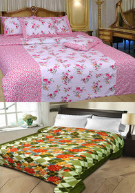 Combo of Cotton Double Bedsheet with 2 Pillow Covers and Double AC Blanket