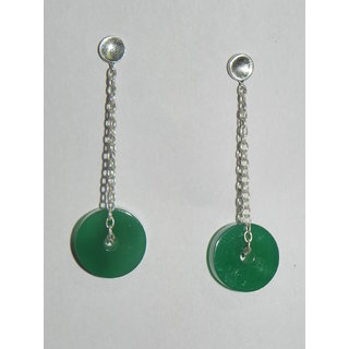 Stylish Real Green Onyx dangling Earring in 925 hallmarked silver