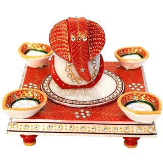 MARBLE GANESHA ON CHOWKI  WITH 4 DIYAS