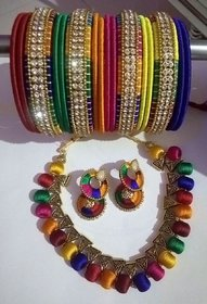 Party wear Resham Silk Thread full Jewellery set Bengles+Necklace+Earings