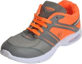 Camro Men's Orange  Grey Stylish Synthetic Sports  Running Outdoor Shoes