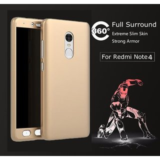 Redmi Note 4 Back Cover 360 DEGREE PROTECTION FRONT+BACK COVER CASE Golden