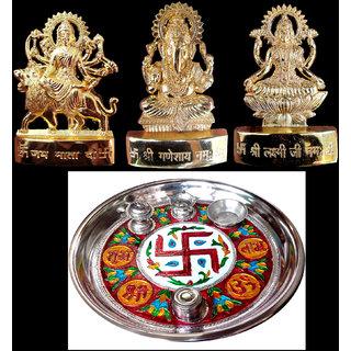 only4you Laxmi Ganesh Durga (3 inches)with decorative pooja thali