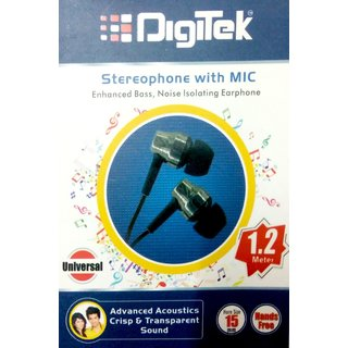 Digitek Universal Stereo Earphone With Mic (Enhanced Bass Noise Isolation)