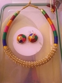 Party wear Resham Silk Thread Jewellery set Necklace with Earings