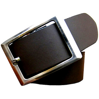 Men Black Genuine Pure Leather Belt (Synthetic leather/Rexine)