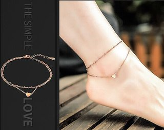 VeroniQ - Women Gold-Toned Dual Chain Link Heart Charm Anklet - 1 Qty