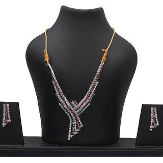 Menal Silver Plated Multi Diamond Necklace Set
