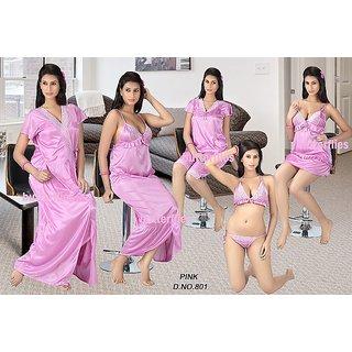 f26e5efe12 801 Pink Sleep Wear 8p Bra Panty Top Skirt T-Shirt Capri Nighty Robe Bed set