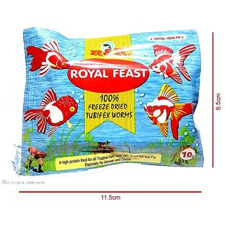 Royal Feast Freeze Dried Tubifex Worms 10 gms X 10 Packets Aquarium Fish  Food