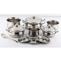 Mahavir 7Pc Stainless Steel Silver Touch Cook N Serve Set