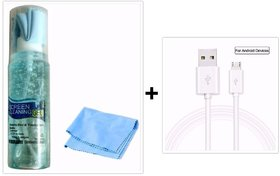 Combo of Cleaning Kit For Mobile Laptop Computer DSLR Camera TV 100 ml +Exclusive Fast Charging and Sync Cable For Andr