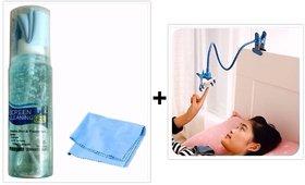 Combo of Cleaning Kit For Mobile Laptop Computer DSLR Camera TV 100 ml + Universal Mobile Holder Stand for Bed , Desk ,