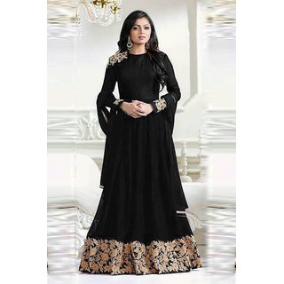 FKART Black Georgette Embroidered Anarkali Suit Material