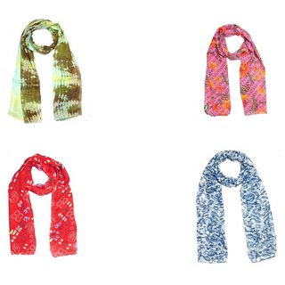 Sri Belha Fashions New Design Printed Scarf Stole For Wome's & Girl,s Set Of- 4 Pcs