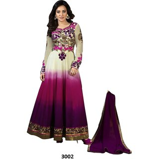 FKART Purple Georgette Embroidered Anarkali Suit Material