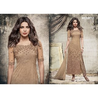 FKART Khaki Georgette Embroidered Salwar Suit Material (Unstitched)