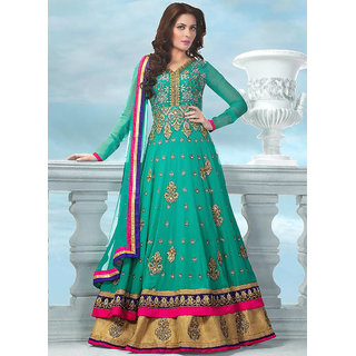 FKART Turquoise Georgette Embroidered Anarkali Suit Material